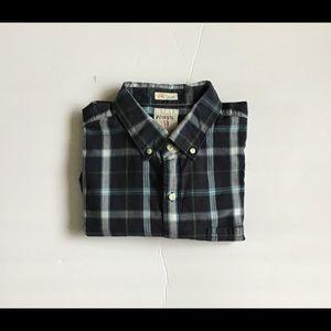 FOSSIL MENS Long sleeve plaid shirts size L